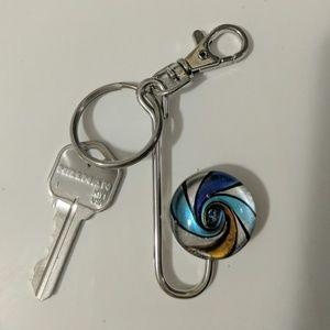 NWOT Art-glass keychain silvertone